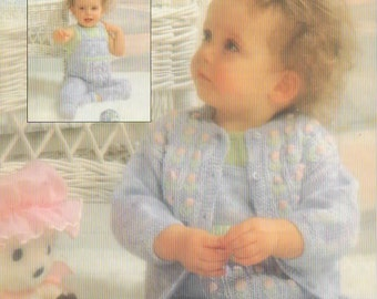 Baby Set, Vest, Dungarees, Cardigan & Bootees, Vintage Knitting Pattern, Patons B7538