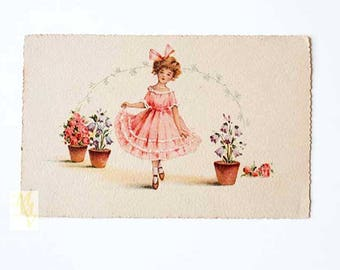 Romantic postcard, Mother's Day card, greeting card, Girl Greeting Card, Greeting Card Spring, Spring Greeting Card, Retro Greeting Card