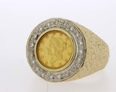 1853 One Dollar coin Men's Ring in 14K Gold with diamond halo