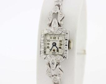 14K Gold Hampden Wrist Watch With Diamond Bracelet