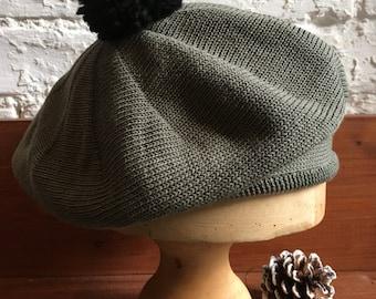 Khaki Knit Beret, Olive Cotton Beret, Women's Green Beret, Cotton Knit Tam, Scottish Tam, French Beret, Pompom Beret, Women's Cotton Hat