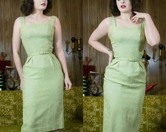 50s Green Dress | Green Wiggle Dress | 50s Dress | 1950s Dress | Sage Green | Green Floral Dress | 50s Floral Dress | 50s Fitted Dress | 24""