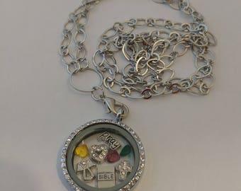 Religious floating locket necklace, religion faith pray church necklace