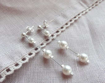 Earrings of bride, pearls and crystals - wedding jewelry