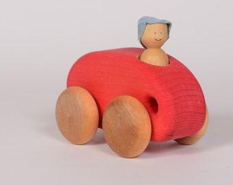 Red wooden car, minimalist wooden little car by l'Atelier Cheval de bois