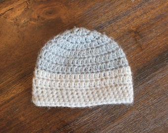 Baby Boy Hat, Little Boy Hat- Grey and Oatmeal Hat