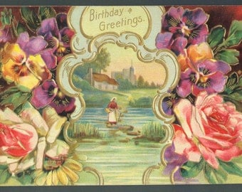 Antique Victorian Birthday Greetings Postcard Floral Country Scene Printed in Germany Embossed