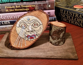 Vampire Moon Tribal Style Painting on Maple Wood / 3 Piece Rustic Found Object Sculpture / Cottage Chic Home Decor with Bear Shape in Lichen