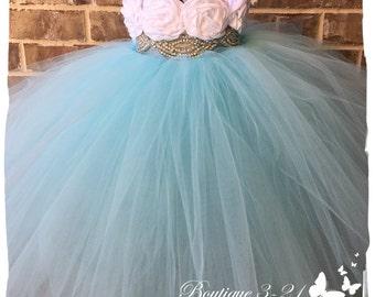 Aqua Blue Tutu Dress, Aqua Blue Flower Girl Dress, Aqua Blue Tulle Dress, Aqua Blue Dress, Aqua Blue Wedding