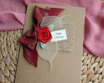 Handmade Love Card- Card for Girlfriend- Thinking of You- Card for Boyfriend- Card for Him- Card for Her- Missing You Card for Husband