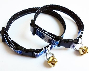 Adjustable breakaway cat collar, Star Wars blue with gold coloured bell in adult or kitten sizes.