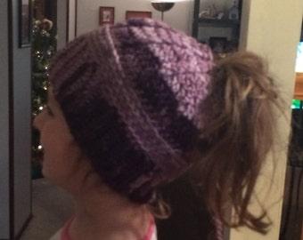 Messy Buns, Ponytail, Handmade, Crocheted Hat, Child Size, Trendy