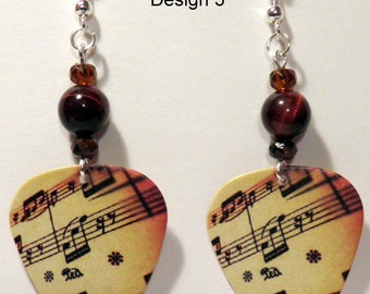 Music Notes on Tan Guitar Pick Beaded Earrings - Handmade in USA
