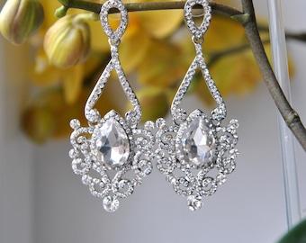 Crystal Bridal Earrings Wedding Long Bridal earrings Bridal chandeliers Bridesmaids Chandelier Great Gatsby 1920s Jewelry Crystal Earrings