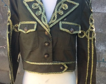 Vintage 90s cropped Military Jacket/ Gold Braiding/epulets/Women size small