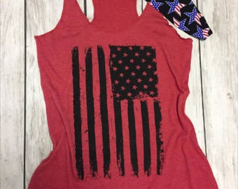 Patriotic AF.American Vintage Flag Tank Top. Fourth of July Headband. MERICA Tank Top. American Girl. Red White Blue. 4th of July. USA. 1776