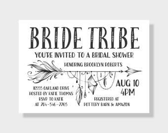Bride Tribal Bridal Shower Invitation, 5x7 Printable Invite, Black and White, Arrow Invite, Digital Invite, Wedding Shower, Bachelorette