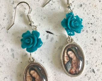Virgen de Guadalupe Rose Earrings