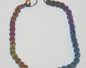 Handmade Niobium Chain Maille Chainmaille Bracelet Jens Pind Weave  Rainbow Block Colors 20 gauge jump rings
