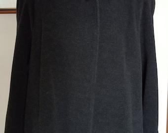 Vintage AUSTRALIAN Wool Winter Coat, Long Flowing Wool Coat by MALLIA made in ITALY, Grey/Black Wool Winter Coat, Full Length Wool Coat