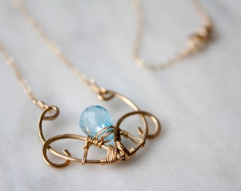 Swiss Blue Topaz Wire Wrapped Statement Necklace, Gold Filled Bridal Jewelry, Art Nouveau Style