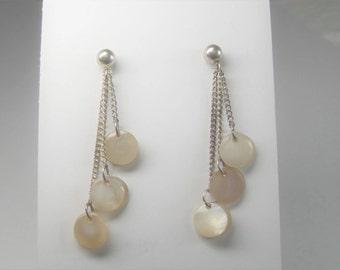 Vintage Sterling Mother of Pearl Dangle Earrings