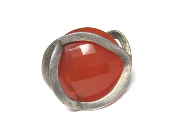 Vintage Brushed Sterling Carnelian Statement Ring Size 7