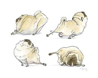 Four Pug Poses - pug art print, good morning art, pug yoga, yoga art, bedroom decor, bedroom wall decor,pug bedroom wall art by Inkpug