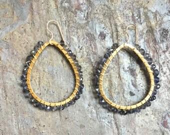 Iolite gemstone gold hoop statement earrings