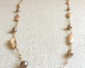 Freshwater pearl long gold necklace