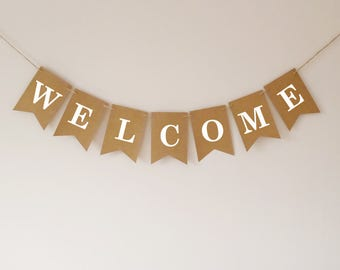 Welcome bunting banner, wedding decor, party decor, baby shower, birthday party