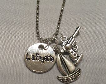 Lafayette Hamilton Hand Stamped Necklace Guns and ships necklace Broadway Musical Necklace