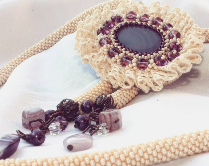 Вeige Beaded Bolo tie with purple natural agate, lampwork beads and vintage lace, ready to ship