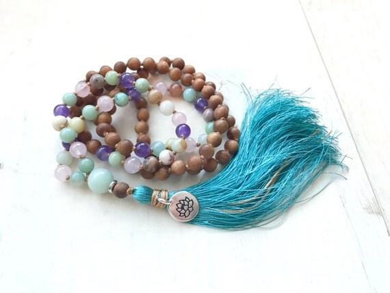 Sandalwood Amethyst Rose Quartz and Amazonite Mala Beads, Mixed Wood and Gemstone Mala, 108 Bead Prayer Beads, Healing Knotted Mala Beads
