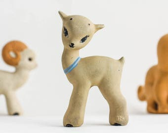 Vintage rubber fawn toy – kids retro bath toy – young deer rubber figurine – USSR 70s