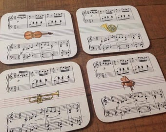 Vintage Music Coasters, Tile Coasters with Cork Backing, 1988