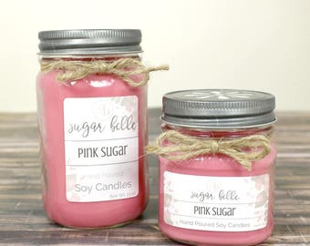Soy Candles Handmade - Pink Sugar - Gifts for Her - Girly Gifts - Hand Poured Soy Candles - Scented Candles - Mason Jar Candles - Home Decor