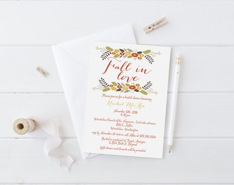 PRINTABLE INVITATION. Fall in Love Bridal Shower Invitation. Fall Bridal Shower. Autumn Leaves. Fall Bridal Shower. Bridal Shower Invitation