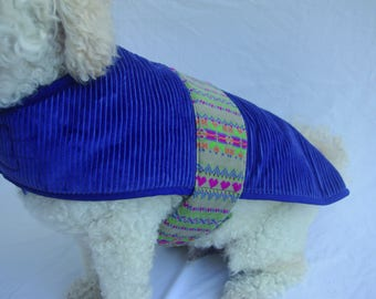 Blue Cord Dog Jacket - Small