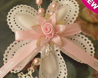 Confetti Flowers Almond  Flowers Baptism Christening with rosary Favors  Bomboniere