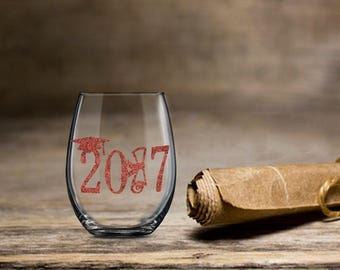 Graduation Wine Glass, 2017 Graduation Wine, Stemless Wine Glass, College Wine Glass, Bachelor Degree Wine Glass, Class of 2017, Graduation