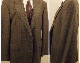 70s Mens Cricketeer Green Glen Check Wool Sport Coat Size 40R