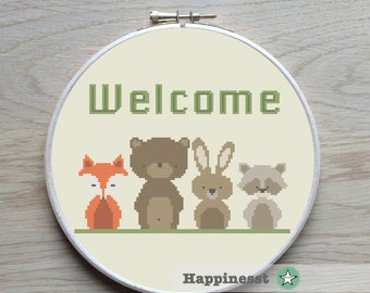 modern cross stitch pattern WELCOME, woodland welcome, PDF  ** instant download**