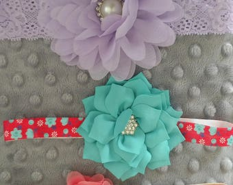 SALE!!! Set of Three  Elastic and Lace Headbands Coral Teal Aqua Peach Coral Rhinestone Size 3-12 Months