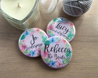 Floral Hen Party badges, Wedding Badges, Bride badge, Hen Night Badges, Bride Badge, Bridesmaid Badge, Hen Do Favour, Bride to Be Badge