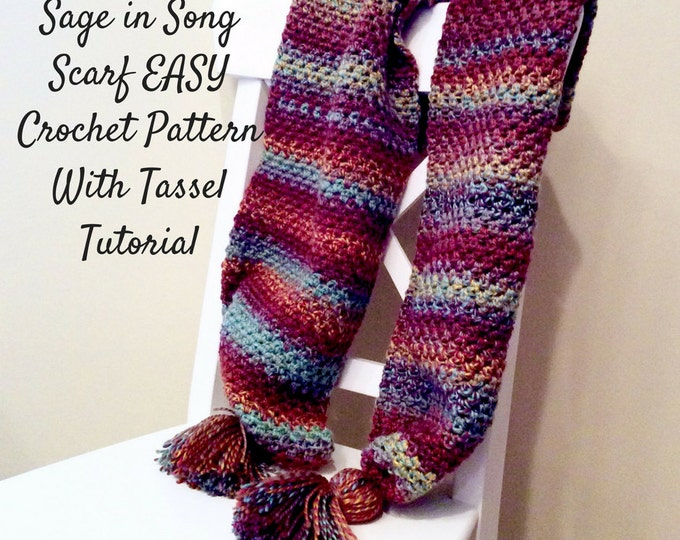 Easy Scarf Crochet Pattern with Tassels tutorial, Warm Winter Scarf Crochet Pattern, Easy Written Crochet Pattern and Photo Tutorial