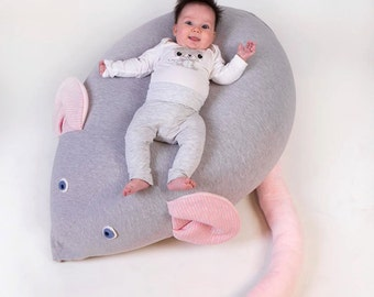 Huge Mouse Beanbag pillow, baby bean bag, kids beanbag pouf, beanbag chair,nursery furniture, grey & pink, Floor pillow - out of stock