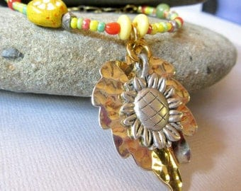 Sunflower Necklace, Layered Mixed Metals Sunflower and Leaf Pendant, Mixed Beads Necklace, Distressed Sunflower and Brass Chain Necklace