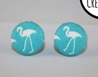 Flamingo Fabric Covered Button Stud Earrings - Hypo-Allergenic Surgical Steel