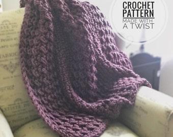 Chunky Blanket CROCHET PATTERN - Crochet Chunky Blanket Pattern - Beginner Crochet Throw - Easy Crochet Afghan - Lapghan Pattern -